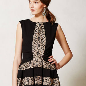 Anthropologie Dress Lace Pleated Cocktail Party